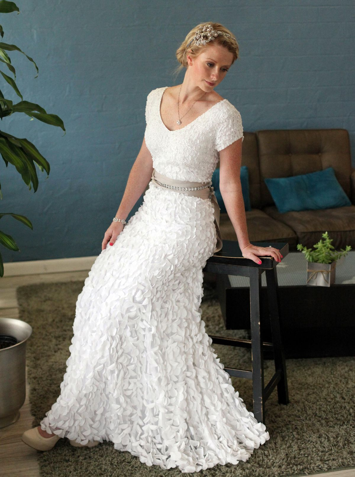 lds wedding dresses Stunning Texture Modest Wedding Gown Not so big on the hair but lovee