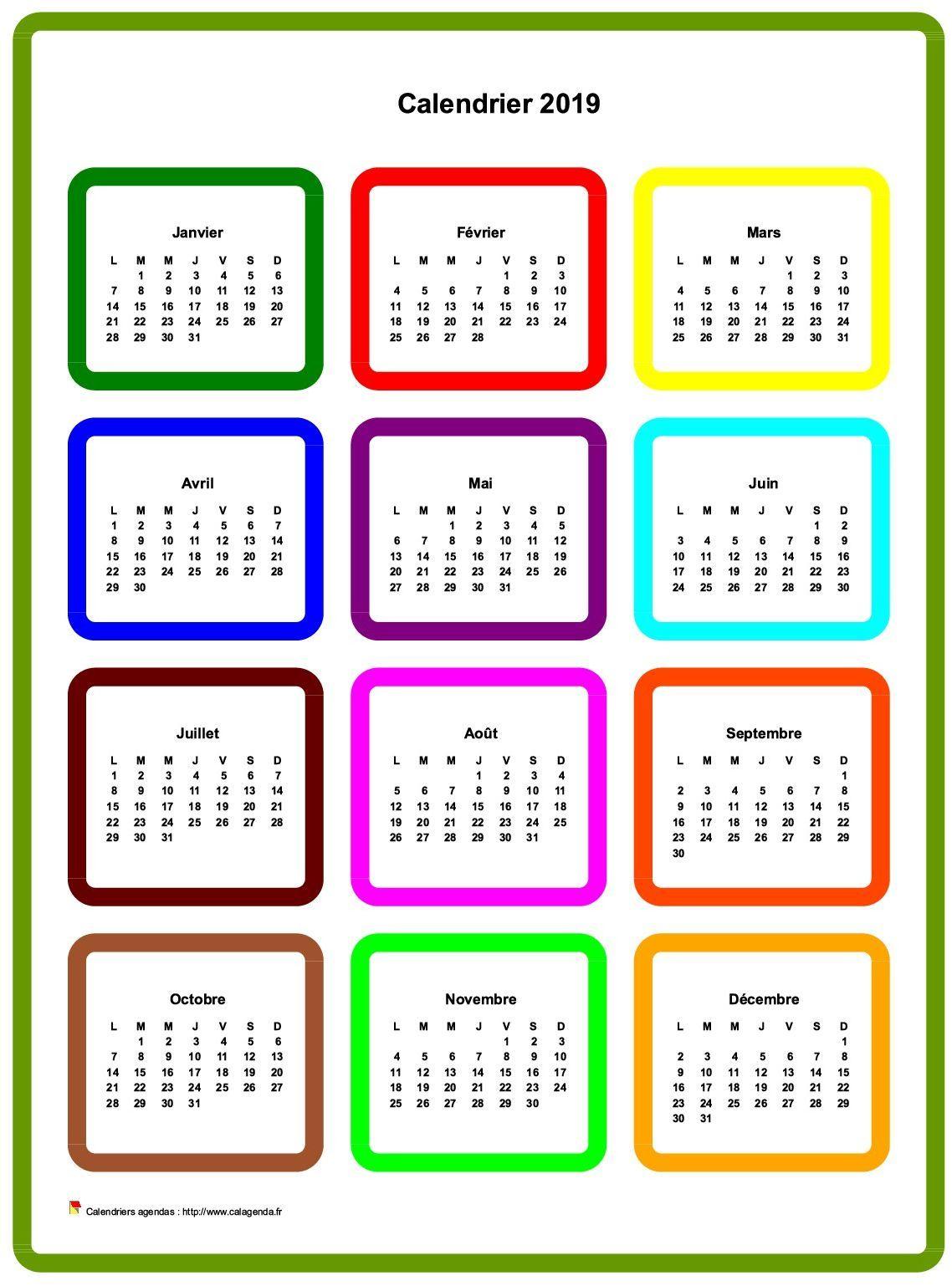 Calendrier 2019 annuel en couleurs | CAL 2019 | Calendar ...
