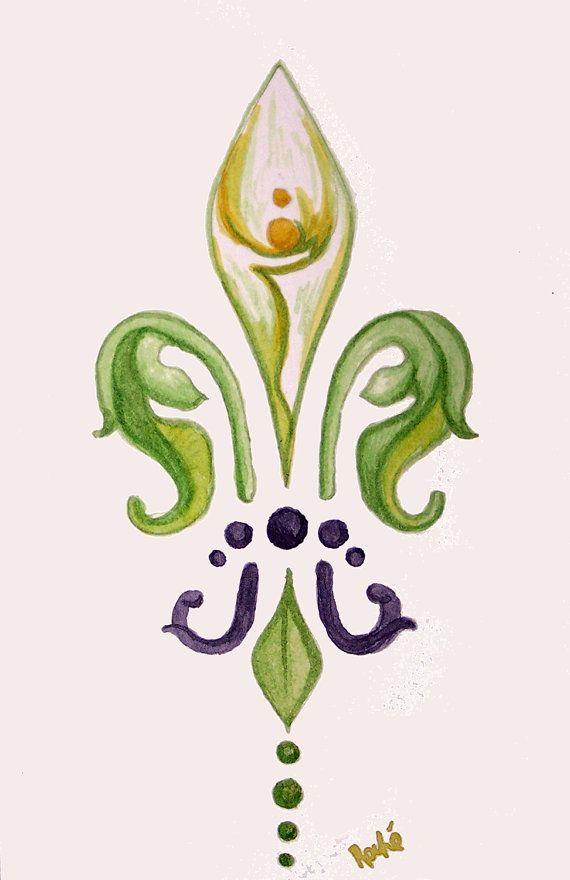 watercolor calla lily- fleur de lis style | Calla lily ...