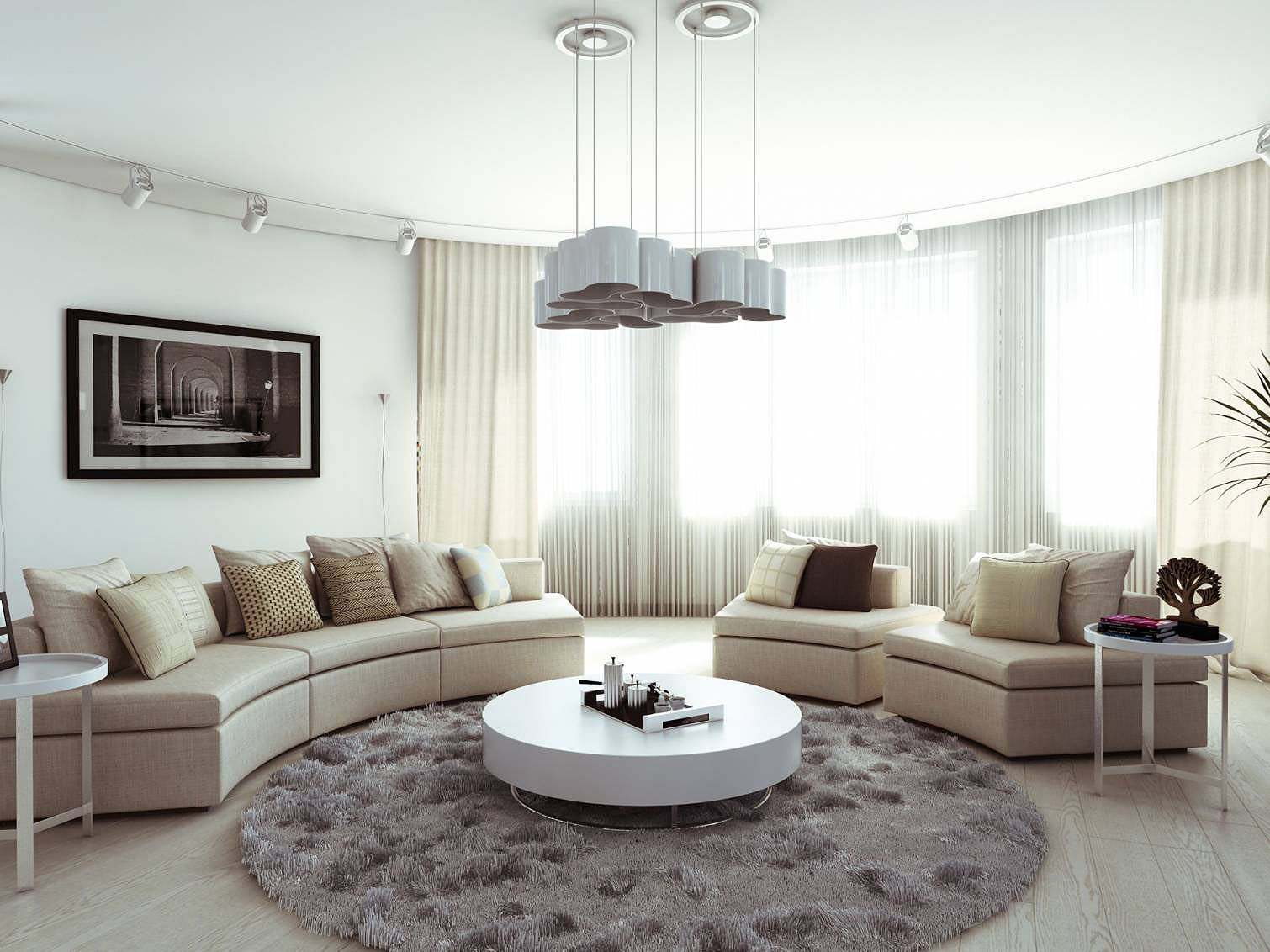 Unique Interior Decoration Style With Contemporary Round Area Rugs Mesmerizing Circular Living Room Design Design Ideas
