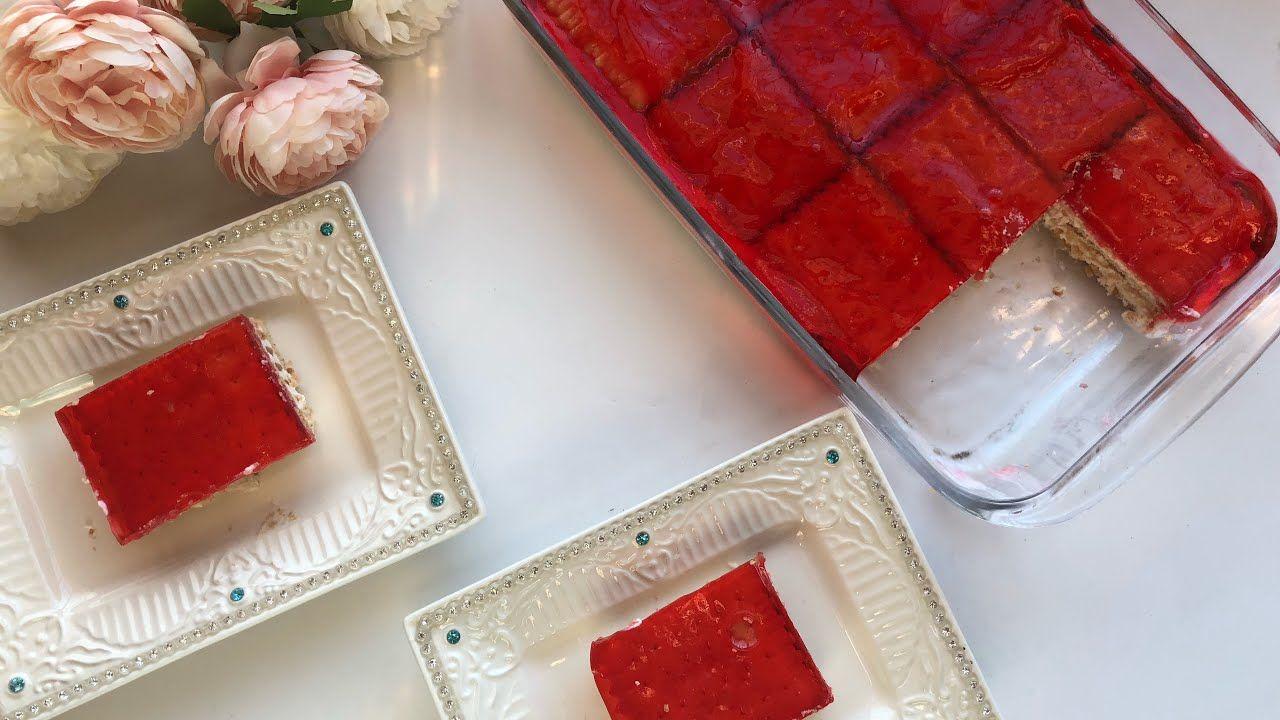 حلى سهل وسريع حلى بارد من دون فرن حلى الجلي بالبسكوت Jelly And Biscuit Layered Dessert No Oven Youtube Kitchen