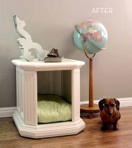 Before And After A Boring Cabinet Becomes A Beautiful Dog House Diy Dog Bed Diy Pet Bed Diy Dog Stuff