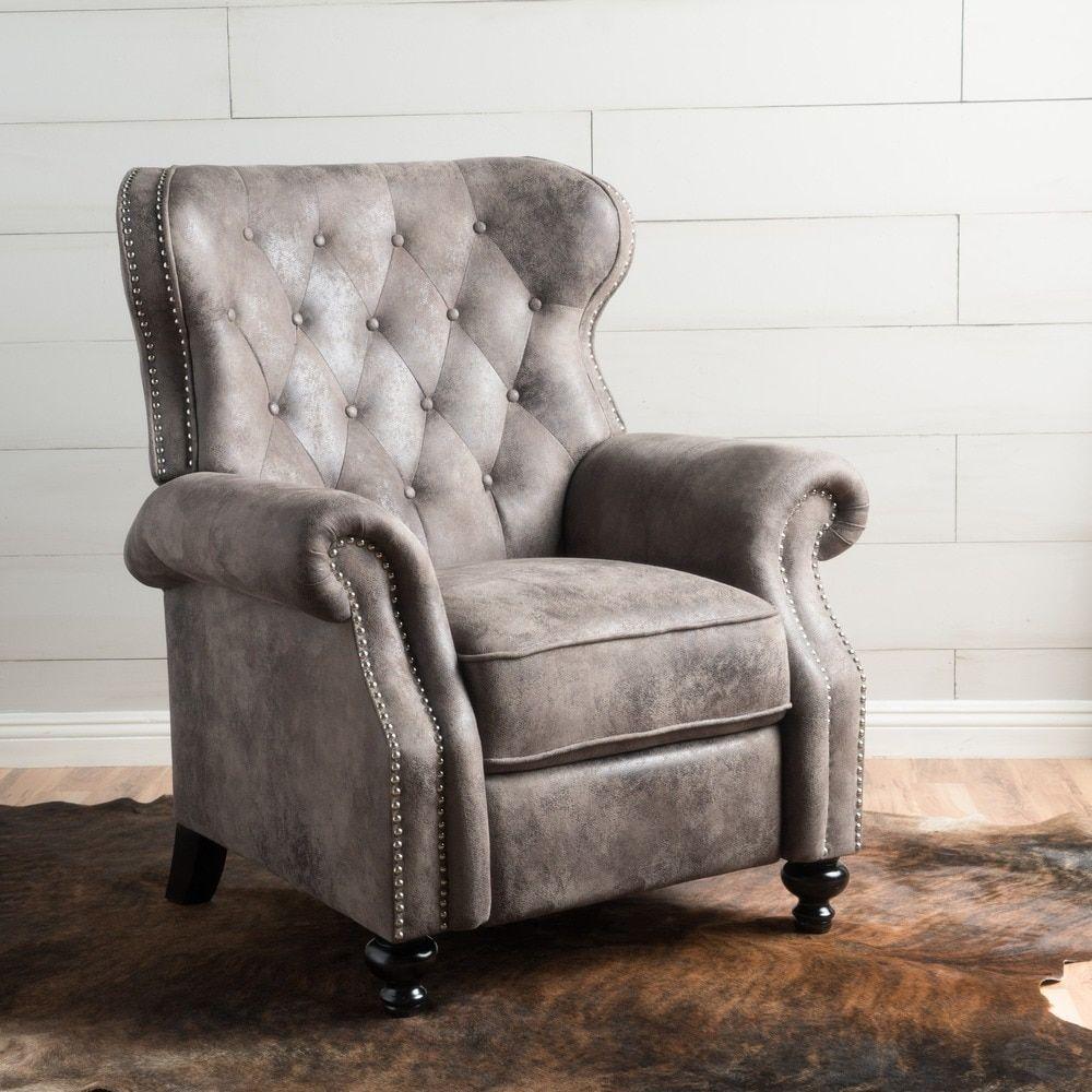 Walder Tufted Microfiber Recliner Club Chair By
