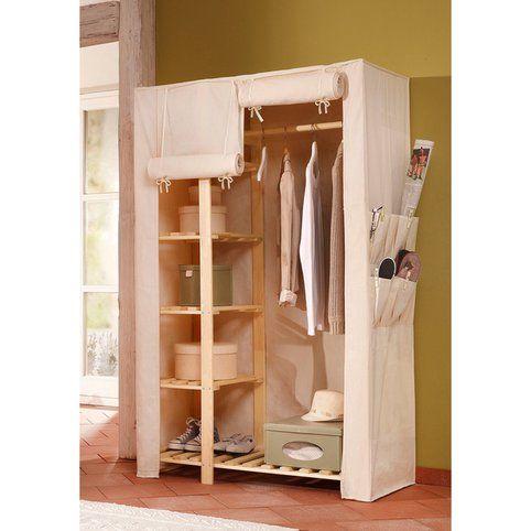 armoire penderie en pin massif et tissu home affaire