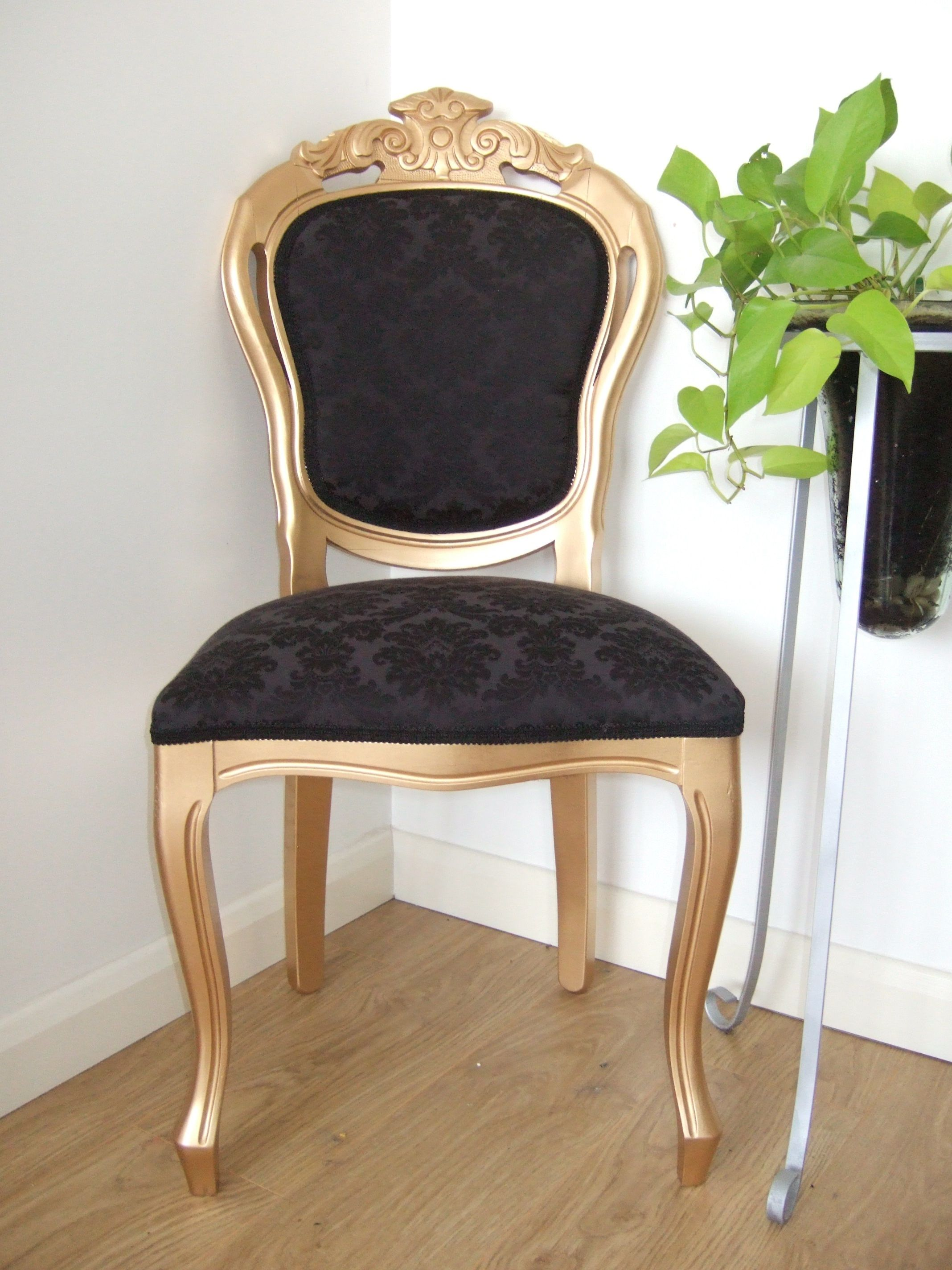 Shimmery Gold French/Italian Dining Chair With Black Damask Fabric Added  With A Black Lace