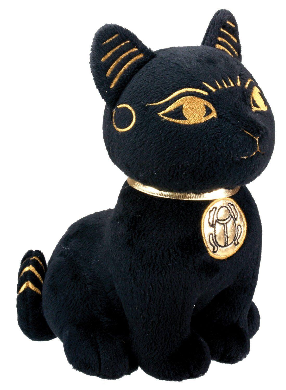 Black And Gold Bastet Cat Kitten Egyptian Stuffed Plush Doll