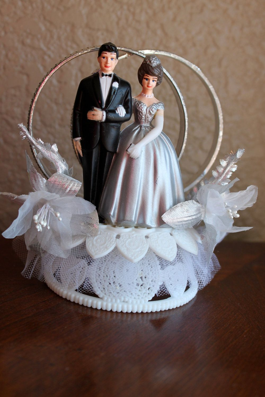 Vintage Wedding Cake Topper Bride and Groom Silver