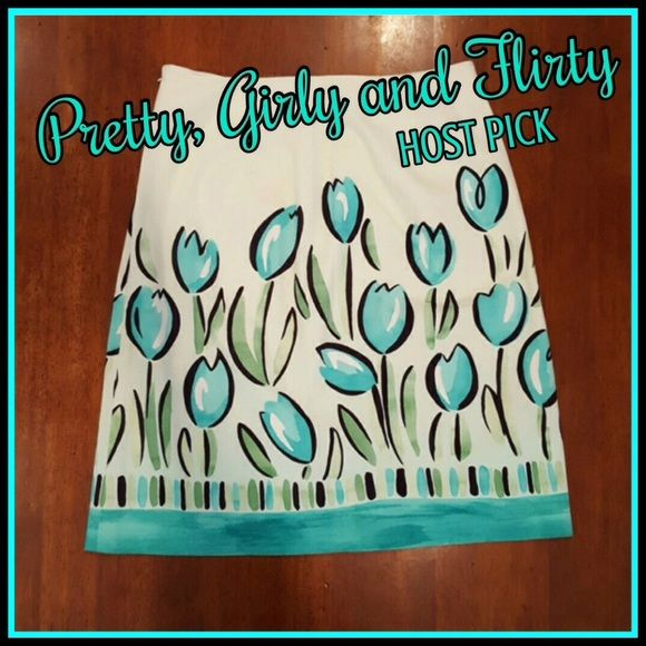✨HOST PICK! ✨Talbots tulip skirt Light green background with a playful tulip print inn hues of turquoise, green and black. Hidden side seam zipper. 97% cotton, 3% spandex. Talbots Skirts