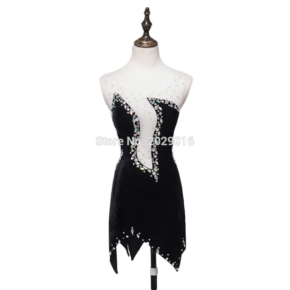 Asymmetrical short cocktail dresses scoop neck crystal beaded see