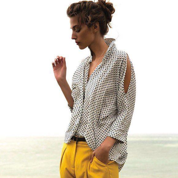 14e830458376c Look chic   chemise imprimée + pantalon 7 8 jaune      vestiaire ...