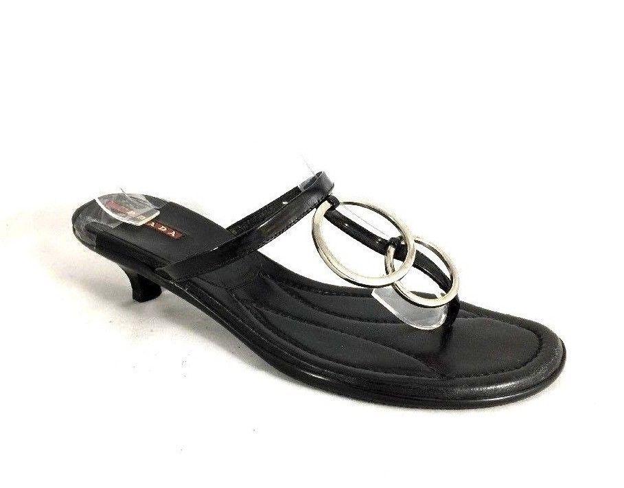 1696e979dac Prada Sandal Kitten Heel Black Silver tone O Ring Thong Toe 8.5 ...