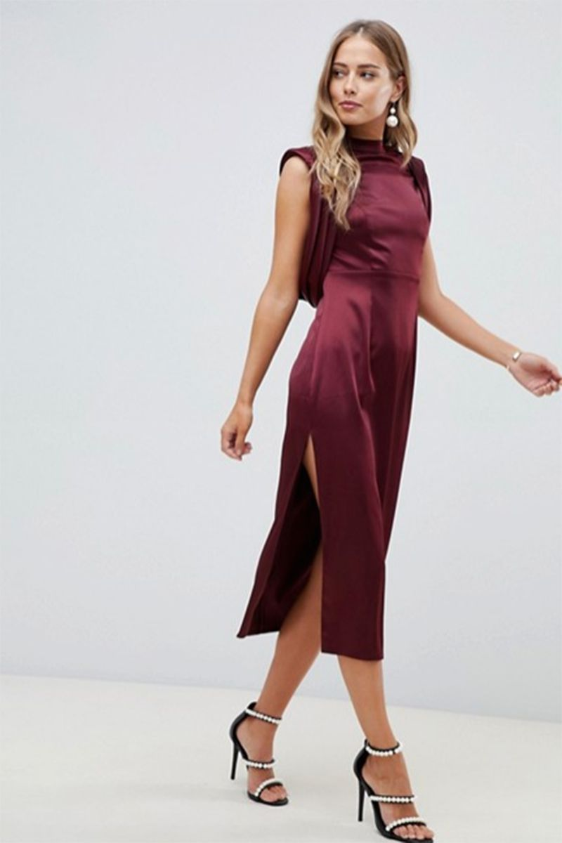 45 Dresses To Wear To A Winter Wedding Winter Wedding Guest Dress Satin Midi Dress Wedding Guest Dress