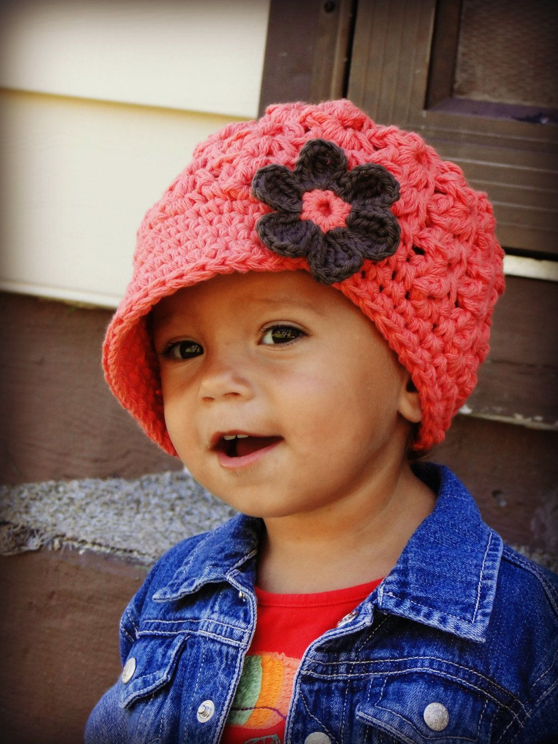 Crochet Women\'s Hat, visor-brim hat, hat with flower. $26.00, via ...