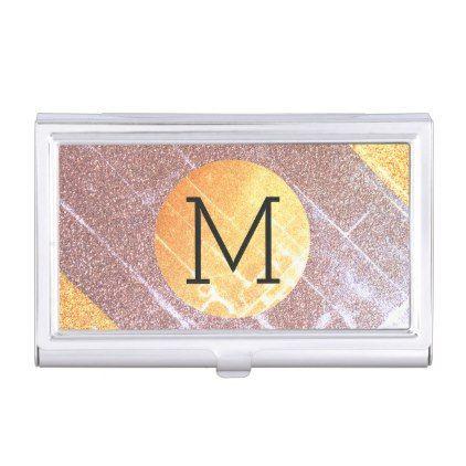 Elegant Faux Pink\Gold Glitter Craquelure Monogram Business Card - business card sample