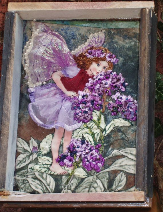 Ribbon and Stumpwork Embroidery of The Heliotrope Fairy by emenow, $79.00