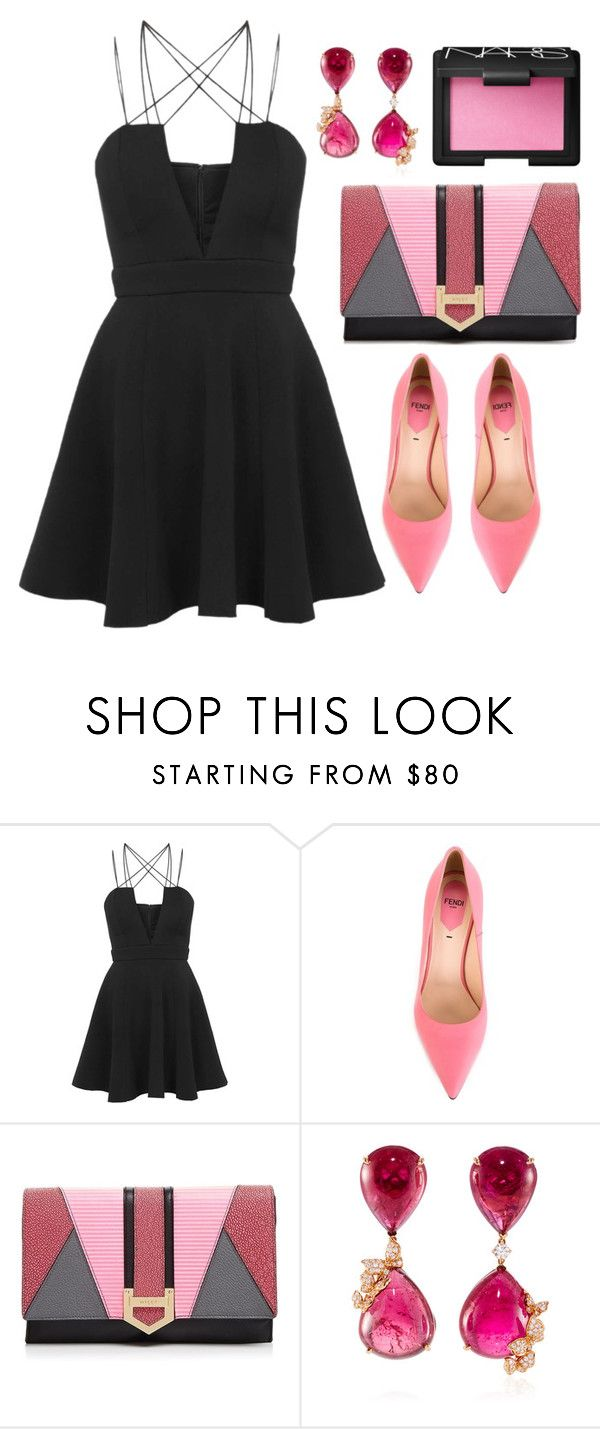 """LBD + Pink"" by cherieaustin on Polyvore featuring Rare London, Fendi, Milly, NARS Cosmetics, topshop, NARS, fendi, milly and vanleles"