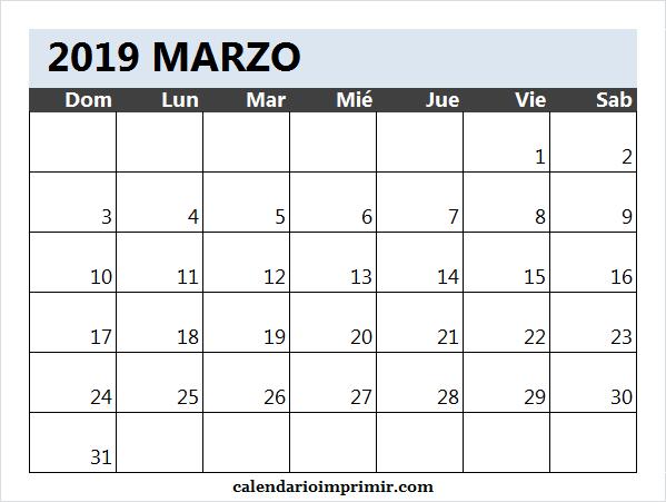 Calendario En Blanco.Calendario Blanco Marzo 2019 March 2019 Calendar 2019 Calendar