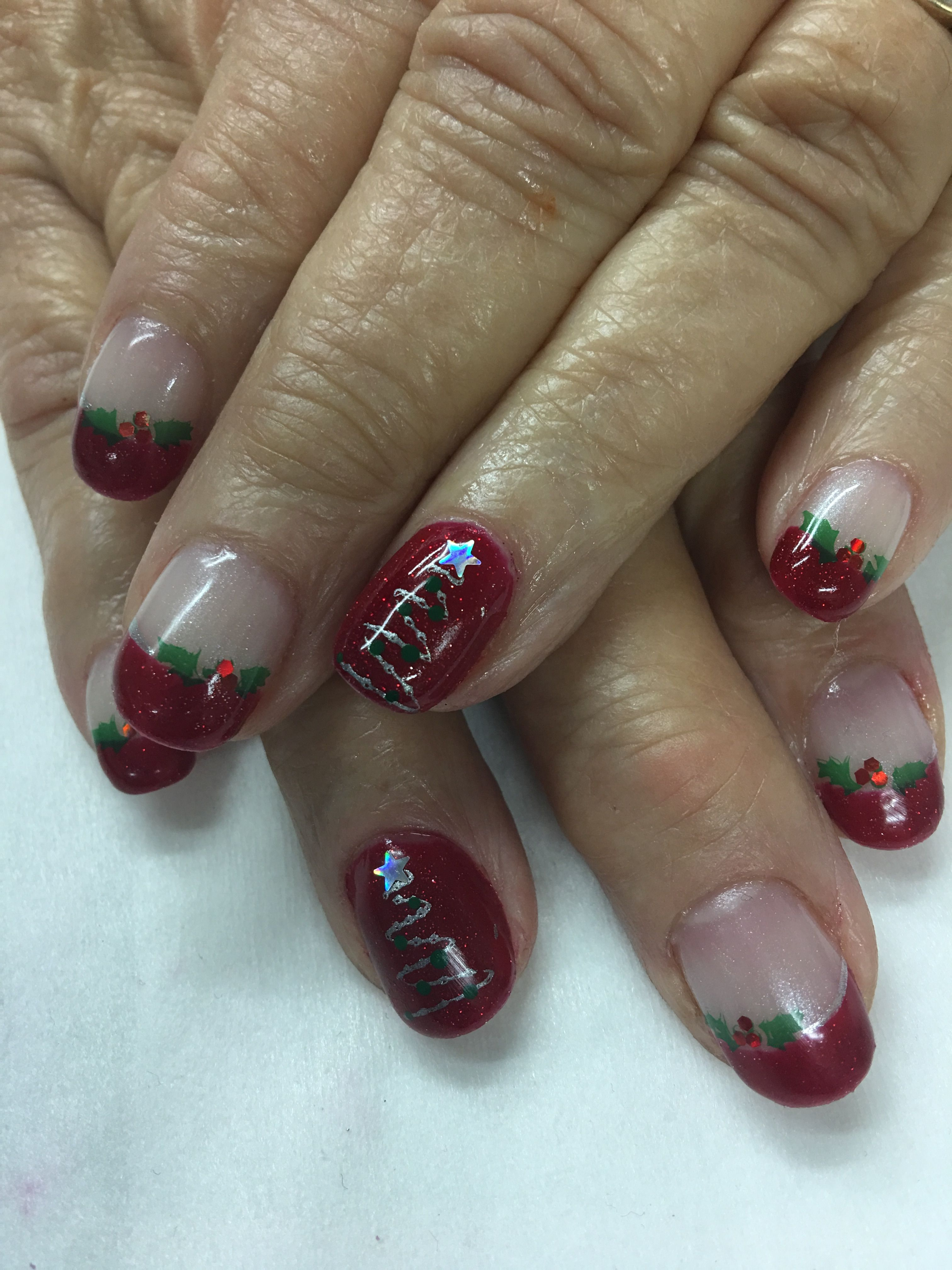 Red Glitter Christmas Tree Holly Berry French Gel Nails | Gel Nail ...