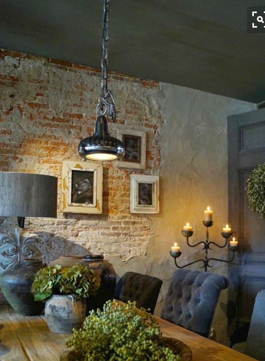 Brick plaster walls Classic dining room, Farmhouse