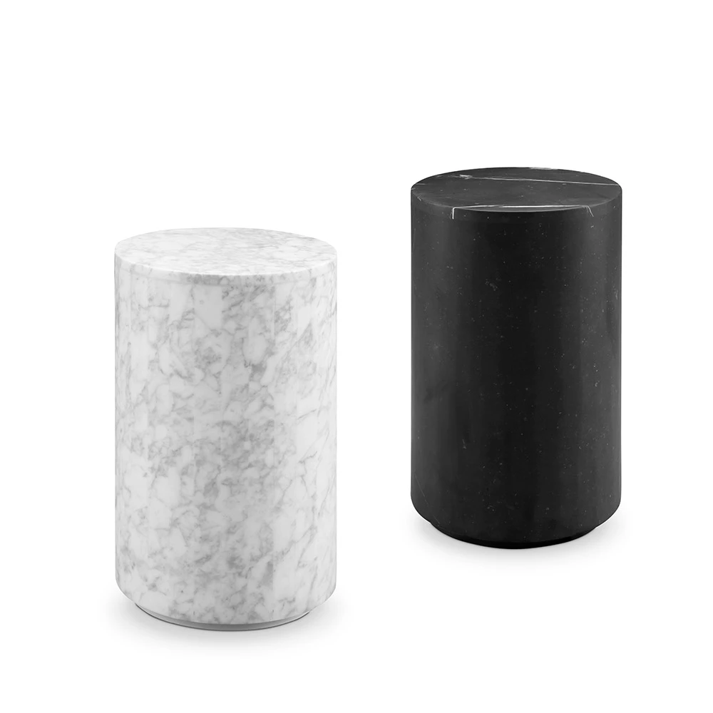 Nero Marquina Black Marble Drum Pedestal Side Table (With