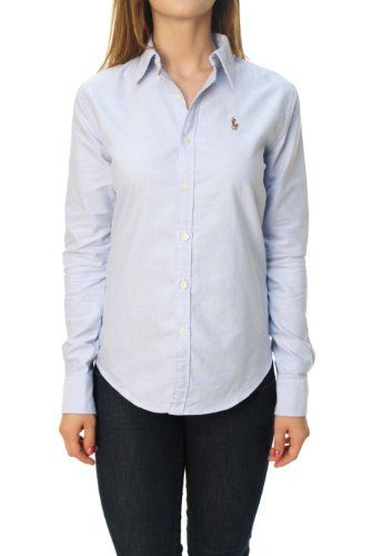 Polo ralph lauren women 39 s slim fit long sleeve button down for Womens button up polo shirts