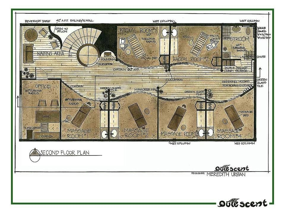 Portfolio By Meredith Urban Van Veen At Coroflot Com Floor Plan Layout Spa Design Spa Decor