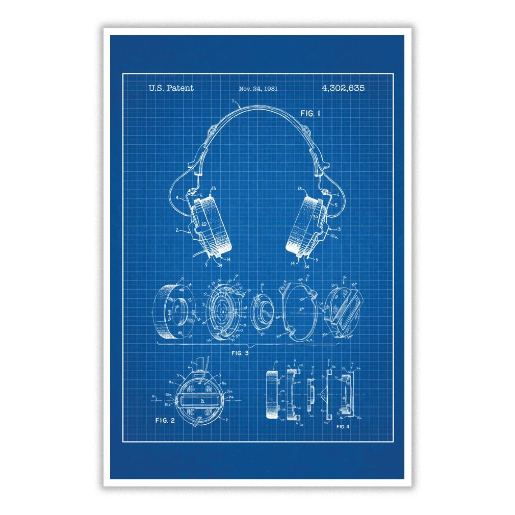 Headphones blueprint patent poster posters and artwork transform a headphones blueprint patent poster posters and artwork transform a room thats purely functional into something malvernweather Image collections