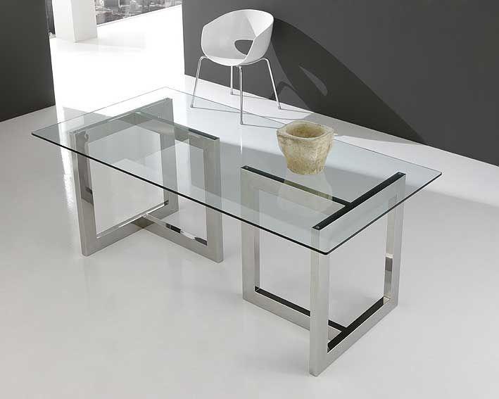 Mesa de cristal y acero inox en t acero inox y cristal for Mesas de cristal para comedor