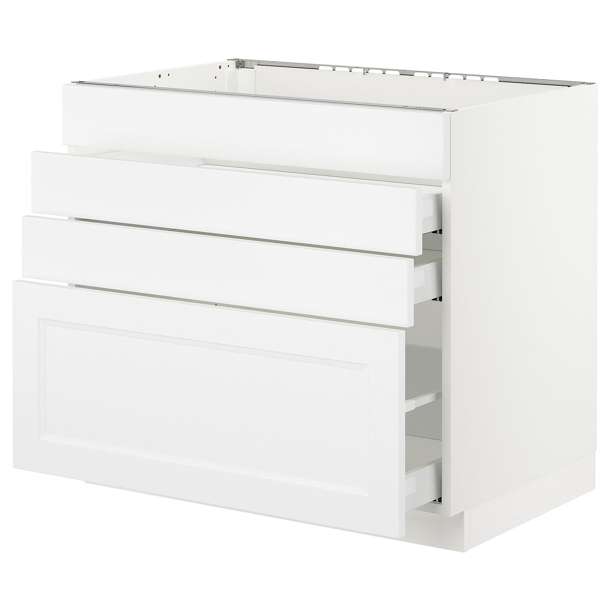 Ikea Sektion White Maximera Axstad Matt White Base Cabinet F Cooktop W 3 Drawers Base Cabinets Wardrobe Cabinets Ikea