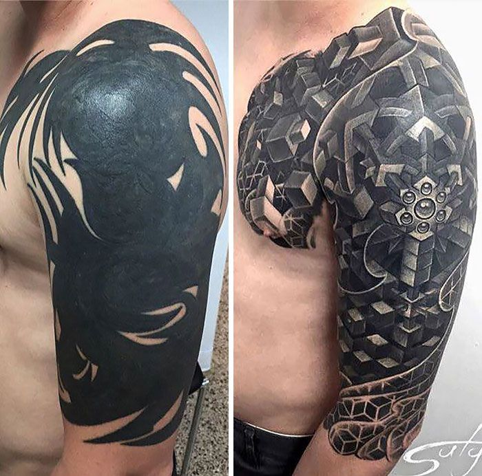 Tattoo Cover Up That Turns Tribal Tattoo Into An Amazing Half Sleeve Geometric Tattoo Best Cover Up Tattoos Cover Up Tattoos Black Tattoo Cover Up