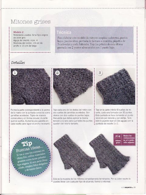 Receitas de Trico e Croche: Luva sem dedo em crochê