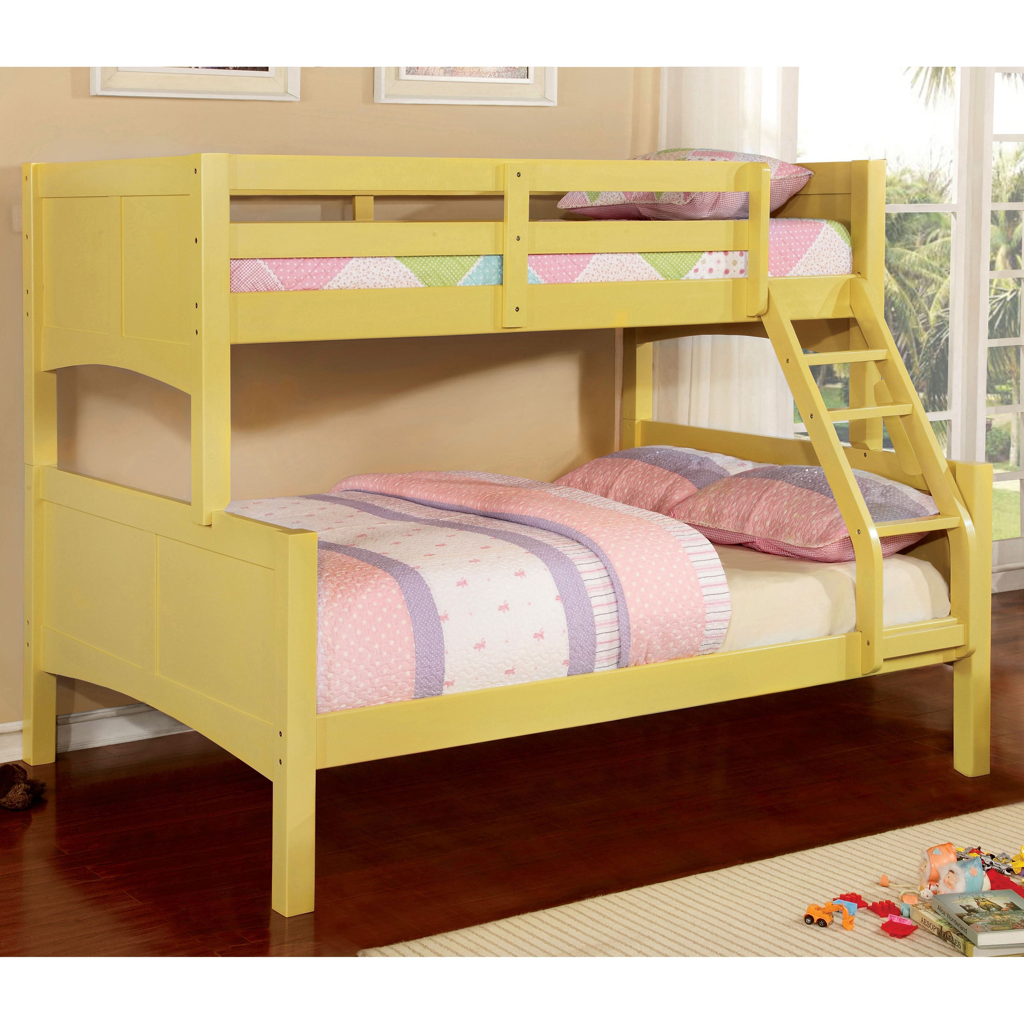 Girls loft bed with stairs  Furniture of America Colorpop TwinoverFull Modern Bunk Bed Twin