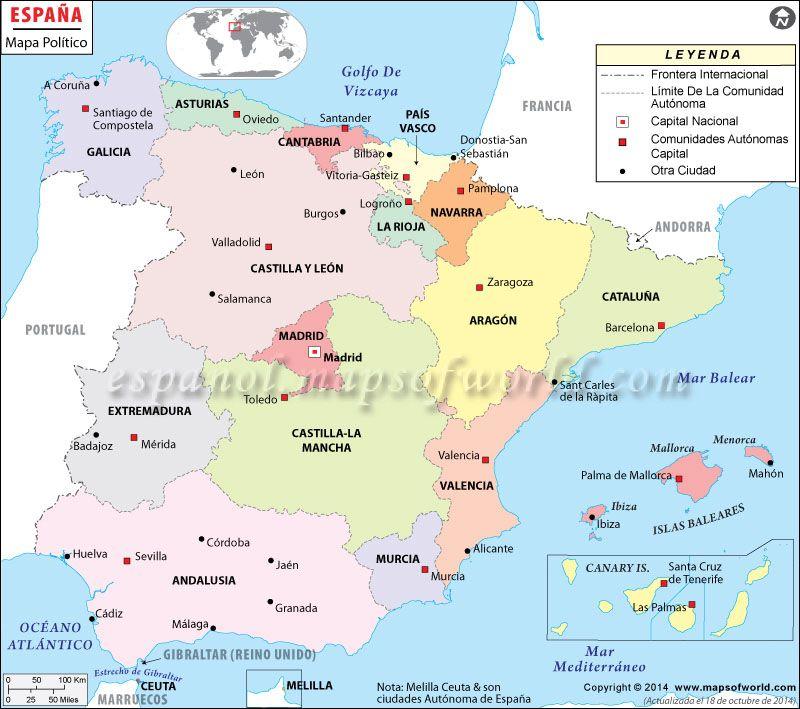Mapa de Espaa  Mapa de Pases  Pinterest