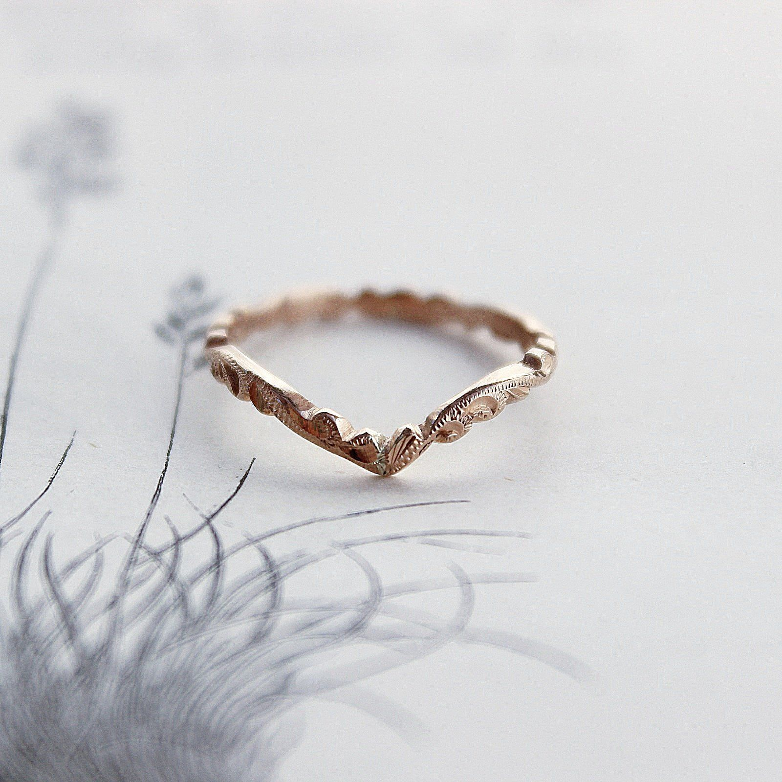 18ct rose gold 2mm floral carved wishbone ring wedding