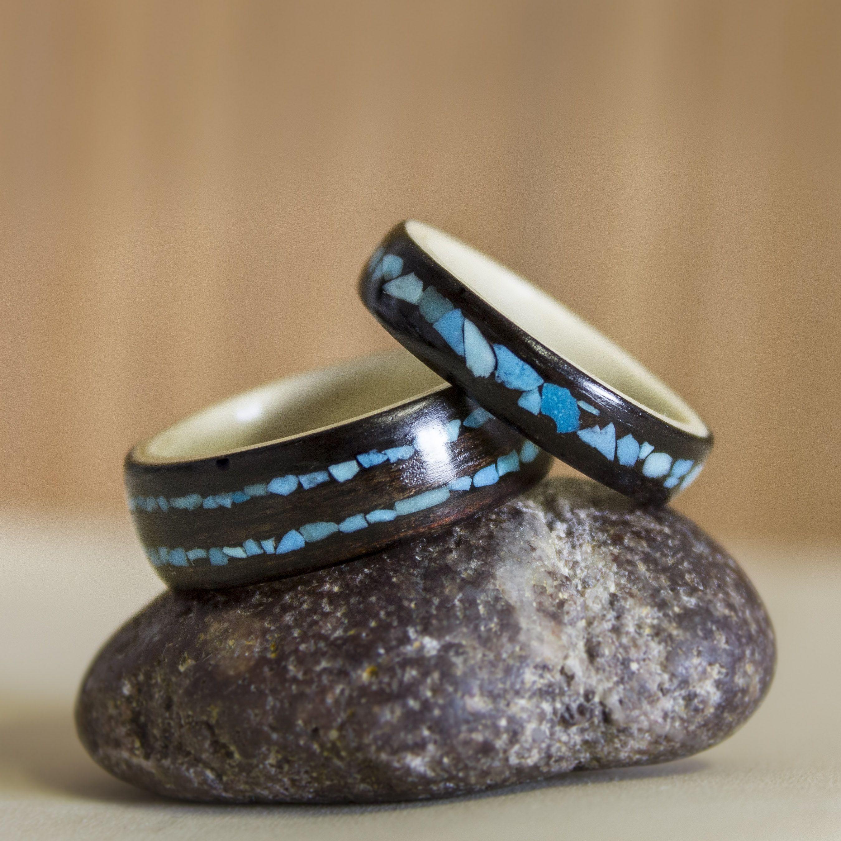Custom Ebony Holly Turq Set Wedding Rings