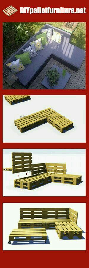 pallet seating pallet projects pinterest garten m bel und palette. Black Bedroom Furniture Sets. Home Design Ideas