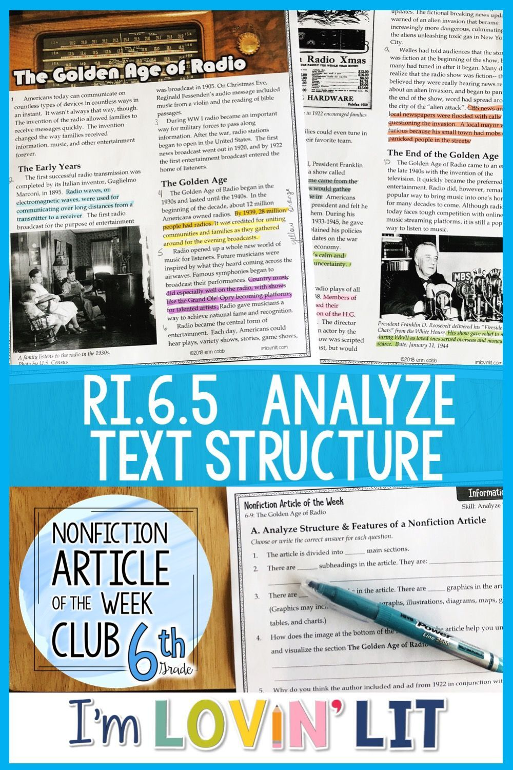Analyze Text Structure RI 6 5 | The Golden Age of Radio Article #6-9