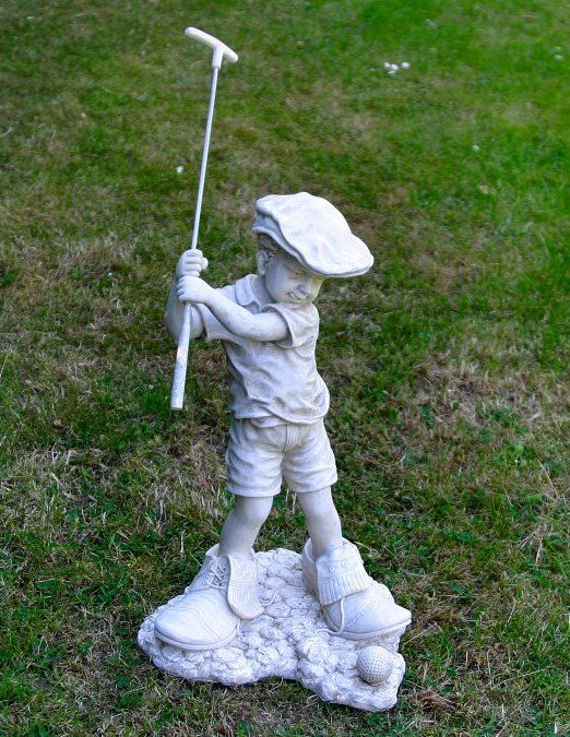 Boy Playing Golf Garden Statue Bring A Little Whimsy To Your Landscaping With