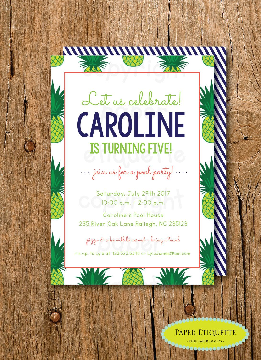Pineapple Invitation - Preppy Pineapple Birthday Party - Southern ...