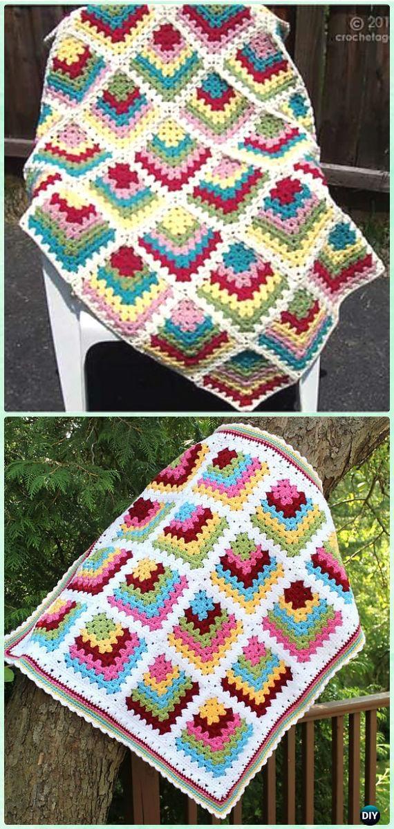 Crochet Mitered Granny Square Blanket Free Patterns | Más ideas ...