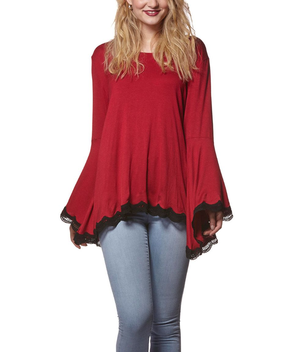 Love this Red & Black Lace-Trim Bell-Sleeve Top by Young Threads on #zulily! #zulilyfinds