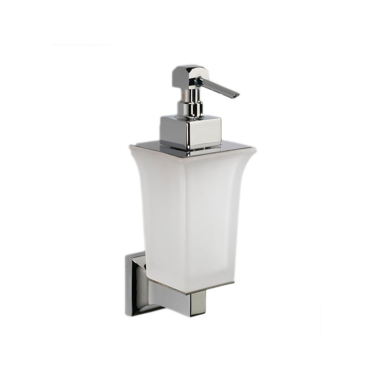 Gorgeous High End Luxurious Modern Wall Mounted Soap Dispenser In Frosted Glass And Finished In Polished Chrome Wall Mounted Soap Dispenser Soap Dispenser Soap