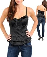 sexy satin corset top is boned and has ruffled front with pretty lace trim, glam bustier top is a shiny corset top to party in top, glam tops w ruffles, evening tops in bustier tops, shiny blue ruffled corset tops to go out in tops in black tops