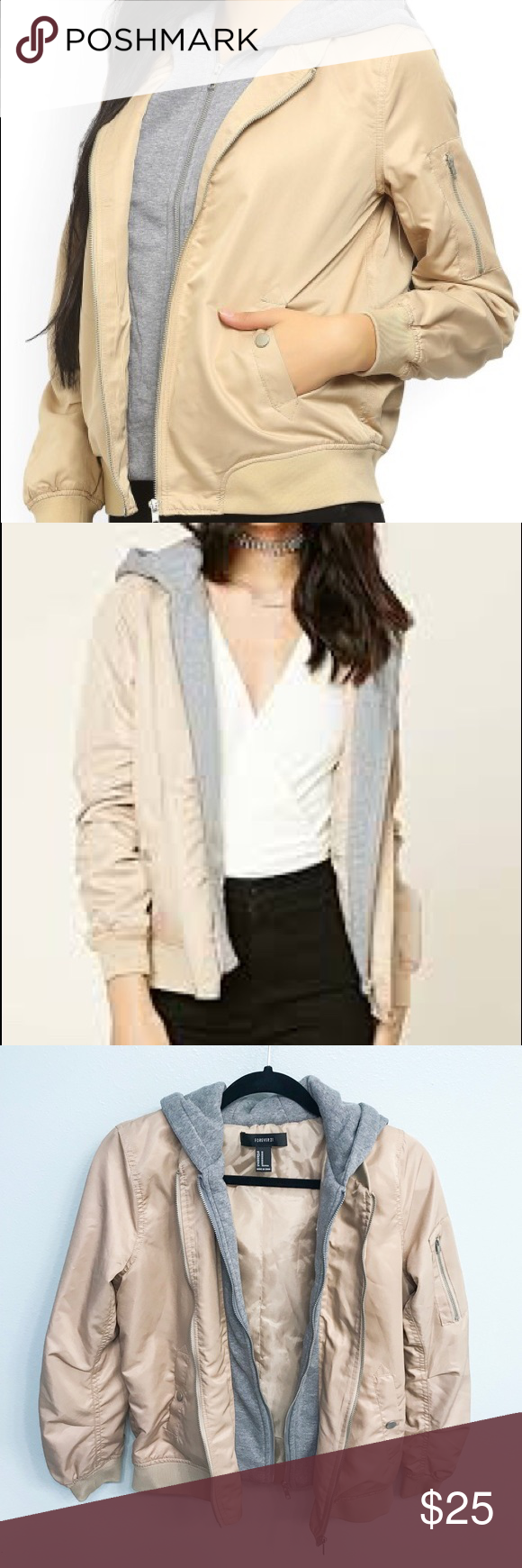 Forever 21 Tan And Gray Bomber Jacket Size M Grey Bomber Jacket Tan Bomber Jacket Bomber Jacket [ 1740 x 580 Pixel ]