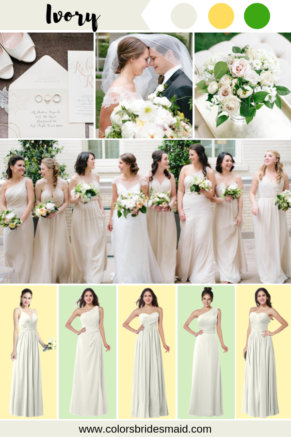 bf0f958764 White Bridesmaid Dresses Ivory color in 2019