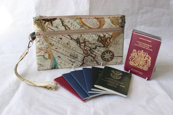 Family passport holder travel document holder world map travel family passport holder wristlet pouch clutch travel wallet unisex world map ready to post gumiabroncs Images