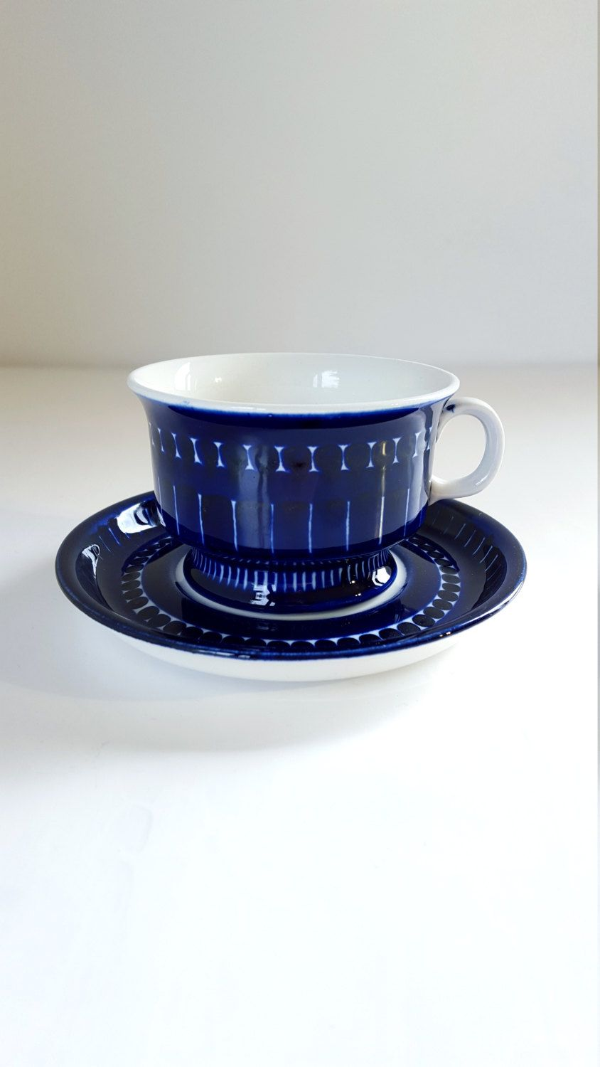 Mid Century Arabia of Finland Valencia Tea cup and Saucer.. Designed by Ulla Procopé.. Handpainted  Mid century modern  Nordic home decor.. by fcollectables on Etsy