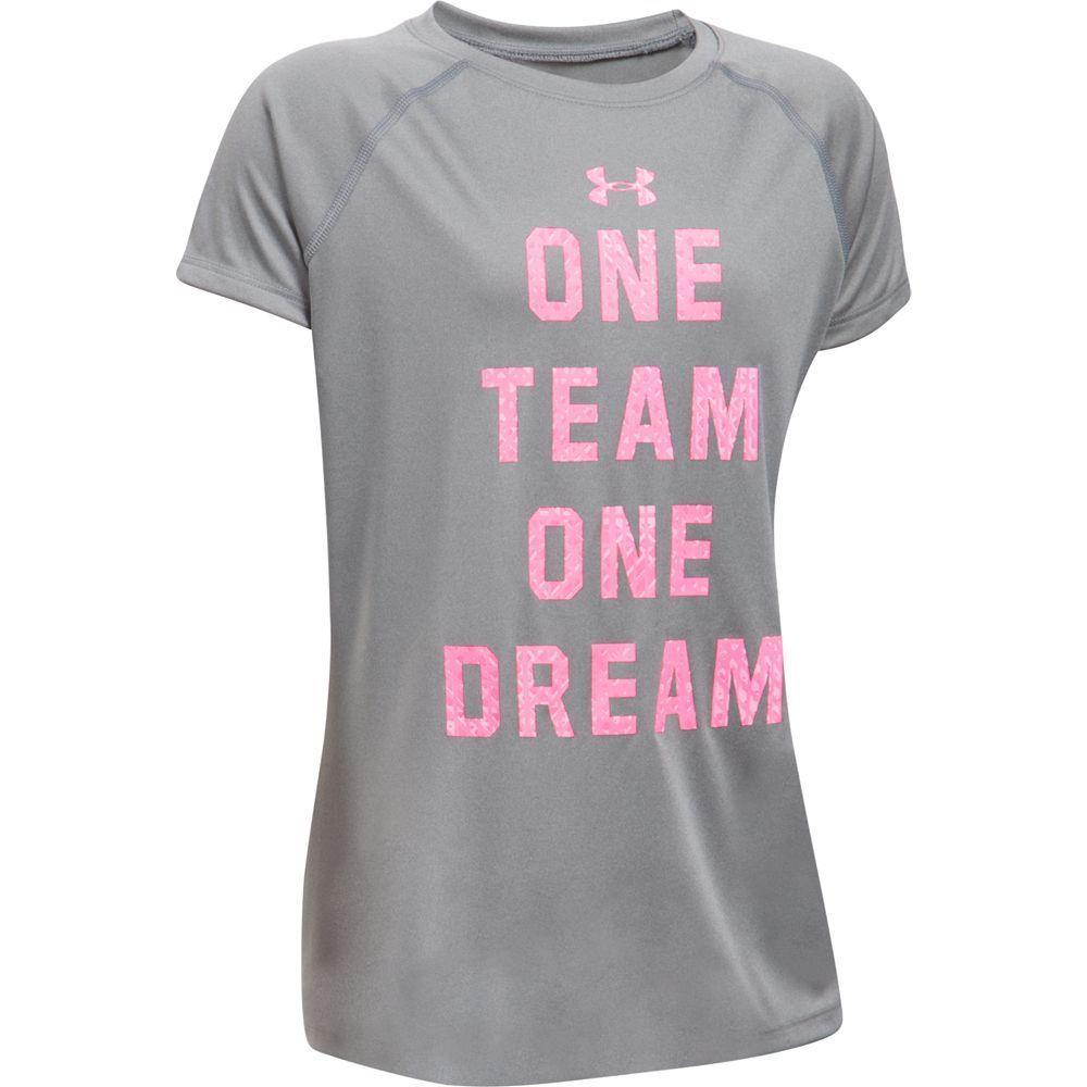 "Girls 7-16 Under Armour ""One Team One Dream"" Short Sleeve Tee, Size: Medium, Dark Grey"