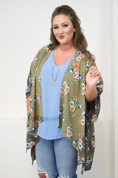 Taupe Floral Kimono   Plus
