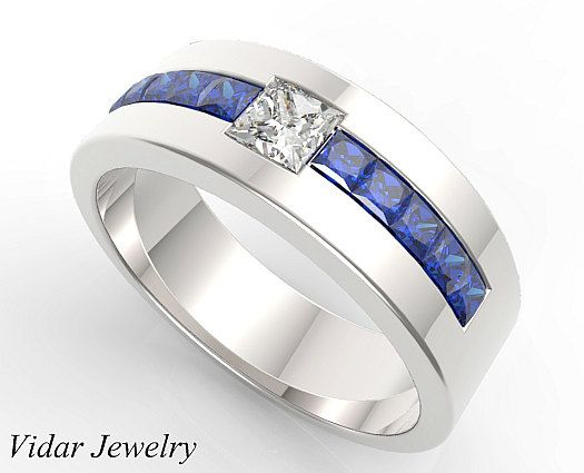 mens wedding bandunique wedding bandsblue sapphire wedding banddiamond - Unique Wedding Rings For Men